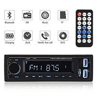 Autoradio Bluetooth Ricevitore, ieGeek universale Wireless singolo Din In-Dash Radio stereo Bluetooth MP3, vivavoce Chiama per smartphone, Kit adattatore radio per trasmettitori FM, Supporta scheda AUX / TF / SD con doppie porte USB