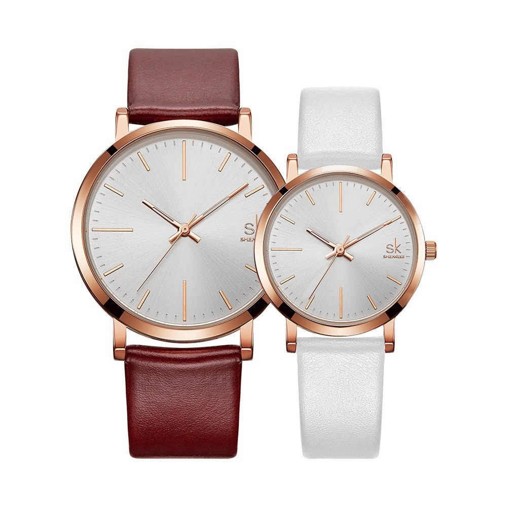 SK SHENGKE Couple Watches Anniversary Gifts for Lover Set of 2 Pairs Sweet Gifts for Valentines. (K8039-Brown-White)
