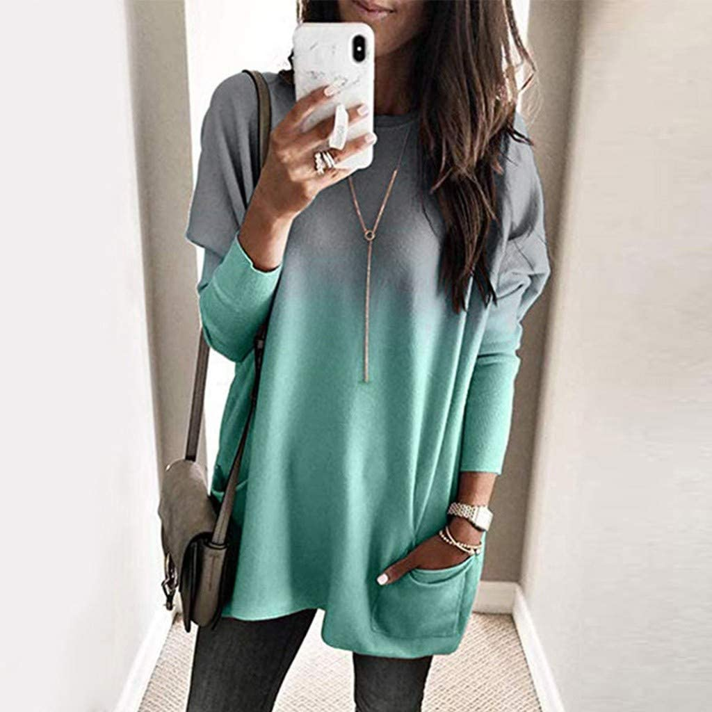 Lazapa Pullover Sweatshirt for Women Plus Size Fashion Loose Gradient T-Shirt Tops Long Sleeve Casual Pocket Blouse
