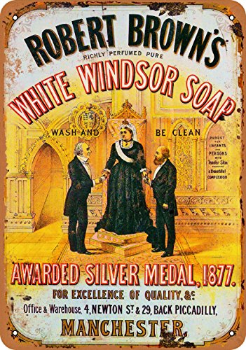 Windsor Metal Plaque (Wall-Color 9 x 12 METAL SIGN - White Windsor Soap - Vintage Look Reproduction)