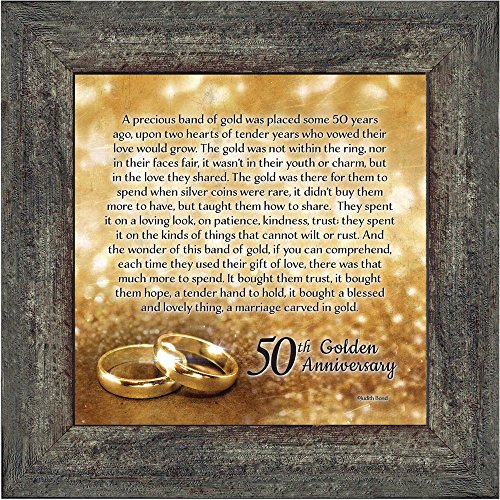 Elegantly Yours Bands of Gold, 50th Wedding Anniversary Gift Picture Frame, 10x10 8608BW (50th Wedding Anniversary Poem)
