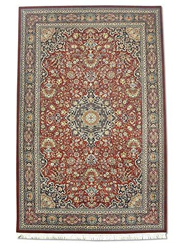 Traditional Persian Handmade Kashan Rug, Wool/Silk (Highlights), Burgundy/Red, 4' 7