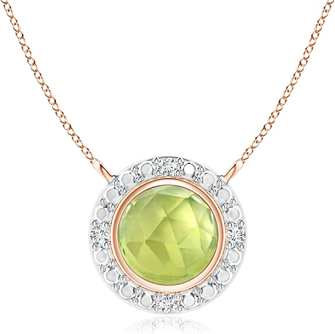 Large Square Peridot Necklace Diamond Halo 5 CT Green Gemstone Pendant White Gold coated Sterling Silver
