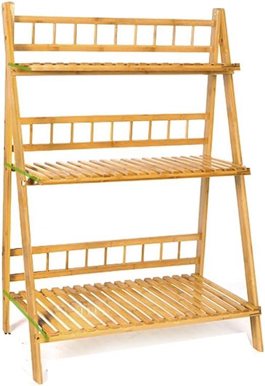 AIDELAI balcón de bambú plegable de la floración plantas flores maceta de varias plantas escalera flores estante tres capas Patio jardín pérgolas: Amazon.es: Jardín