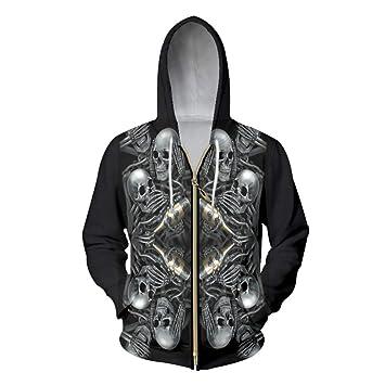 Ai Ya-weiyi Hombres Sudaderas Oversize Impresión Digital 3D Skeleton Skull Champagne Sudaderas con Capucha Zip Homme Hoody Chaqueta con Capucha Manga Larga: ...