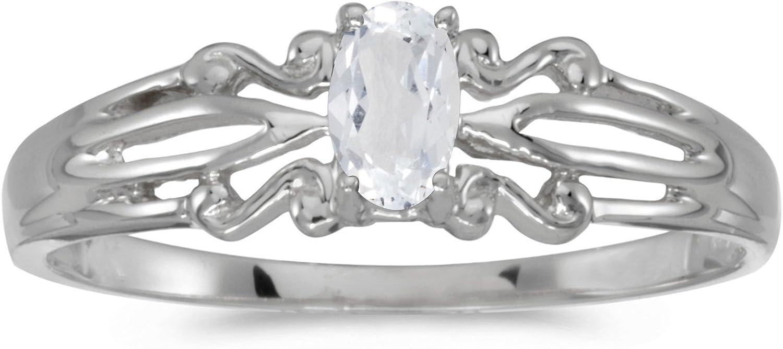 FB Jewels 10k White Gold Genuine Birthstone Solitaire Oval Gemstone Wedding Engagement Statement Ring