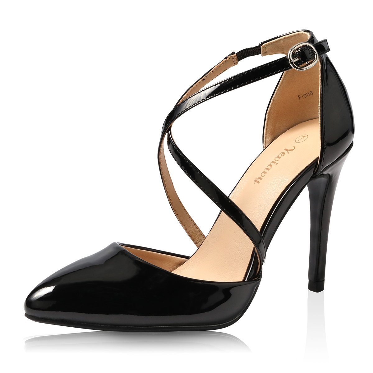 Yeviavy High Heels for Women Pumps Dress Pointed Toe Shoes Strappy Stiletto Buckle Closure D'Orsay Finona Black Patent 9