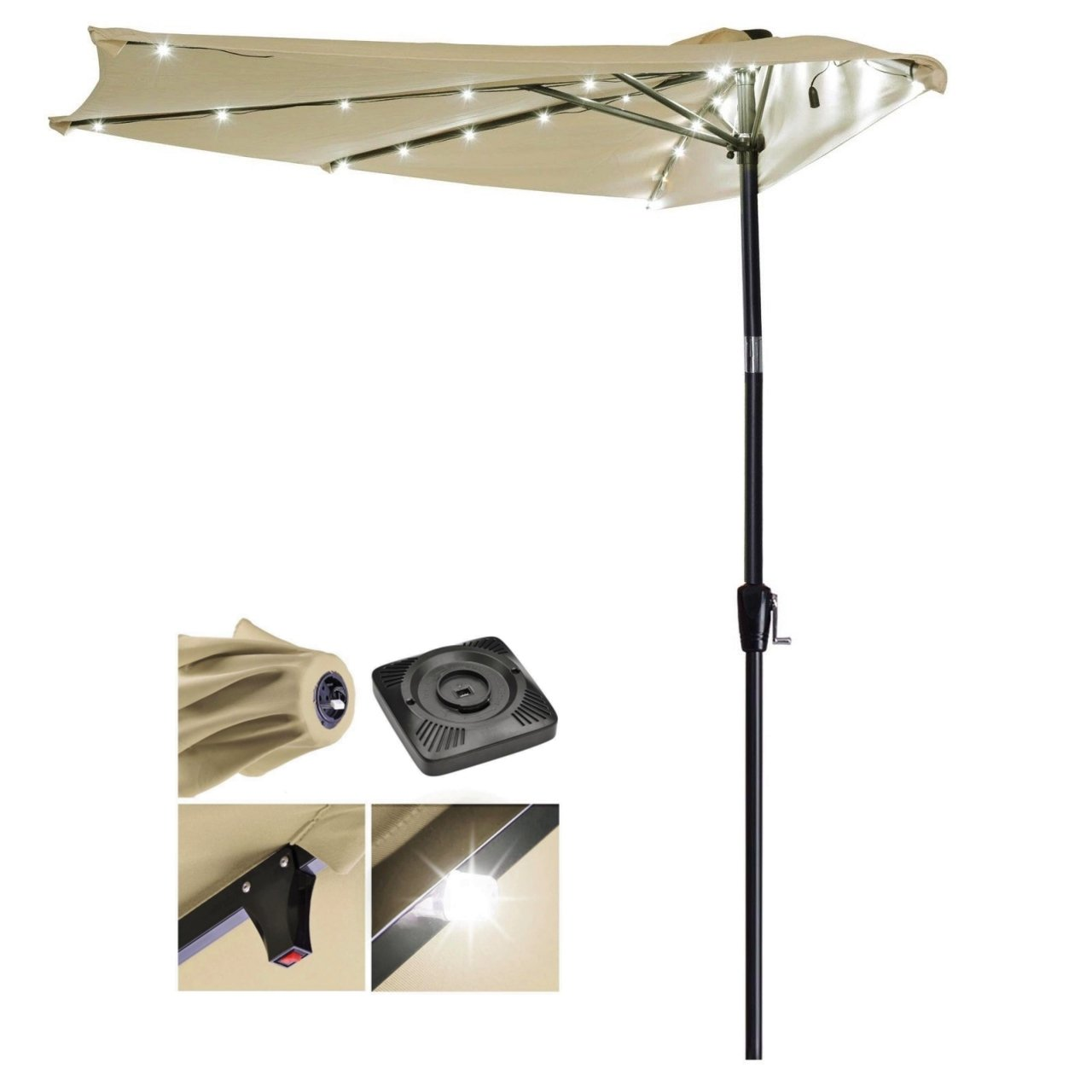 New UV Blocking 9ft Half Umbrella Patio Outdoor Bistro Balcony Wall Window Sunshade W/Solar Power LED #907a