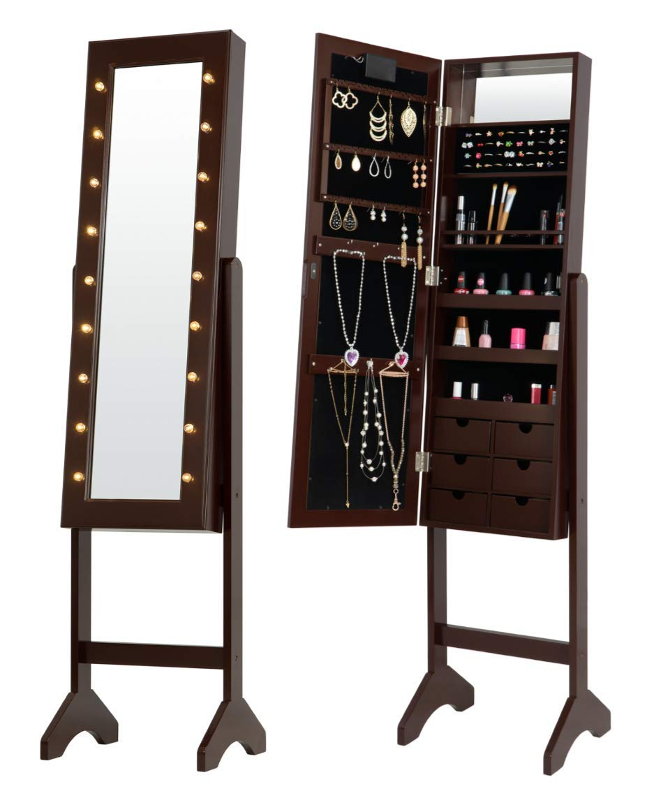 Fineboard FB-JC09-BN LED Jewelry Cabinet Organizer with Front Mirror and 6 Small Drawers, Brown by Fineboard
