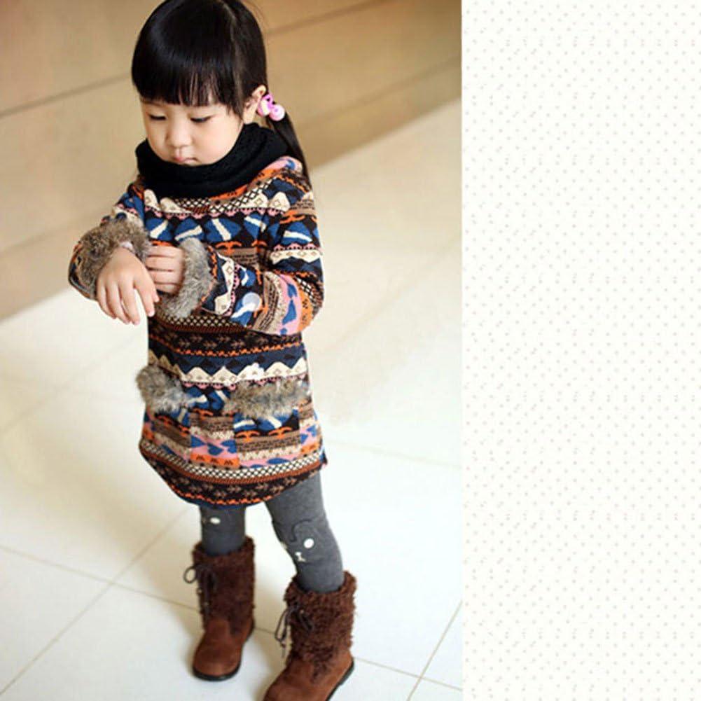 Shouhengda Kid Girl Winter Rabbit Printed Leggings Warm Fleece Pants