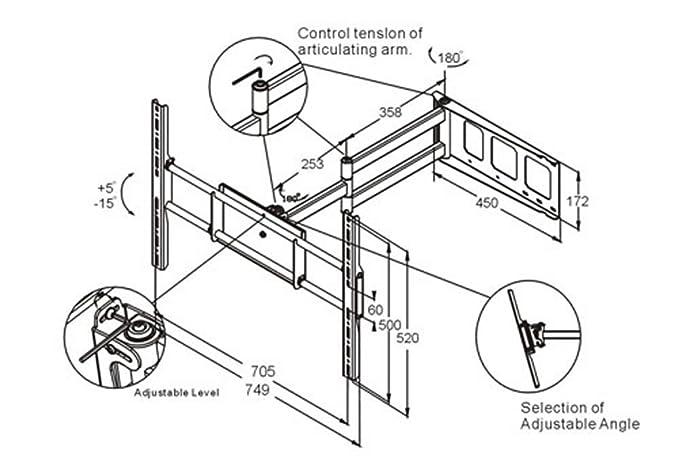 Amazon Com Black Full Motion Tiltswivel Corner Friendly Wall Mount