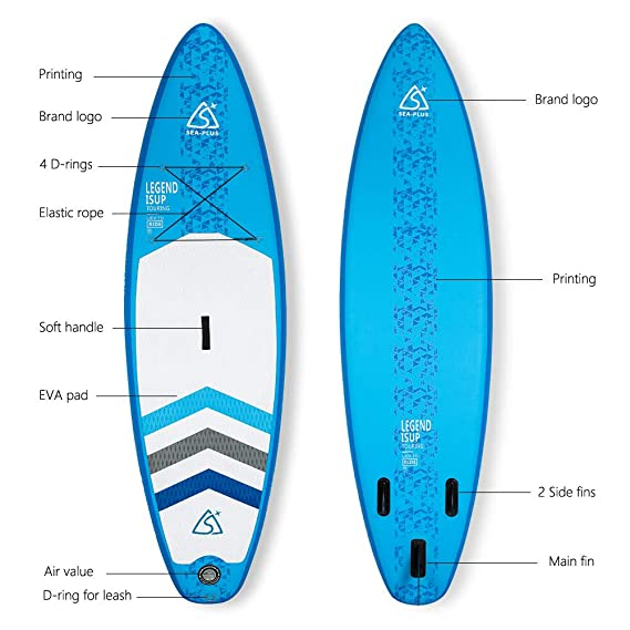 SEAPLUS Tabla de Paddle Surf Hinchable Tabla Stand Up Paddle Board Rígida Doble Capa con Accesorios de Remo de Aluminio/Inflador/Leash/Mochila, Carga ...