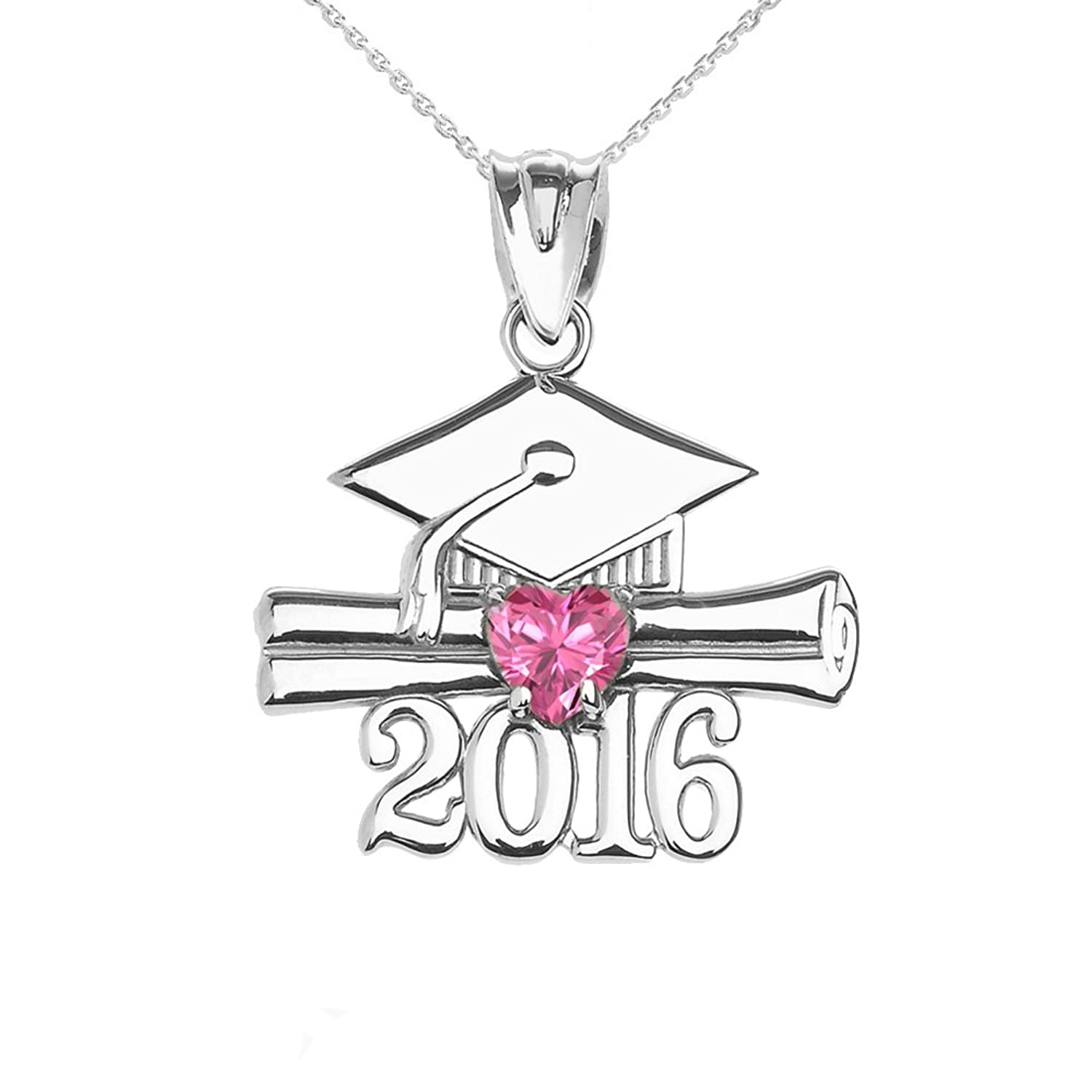Sterling Silver Heart October Birthstone Class of 2016 Graduation Pendant Necklace