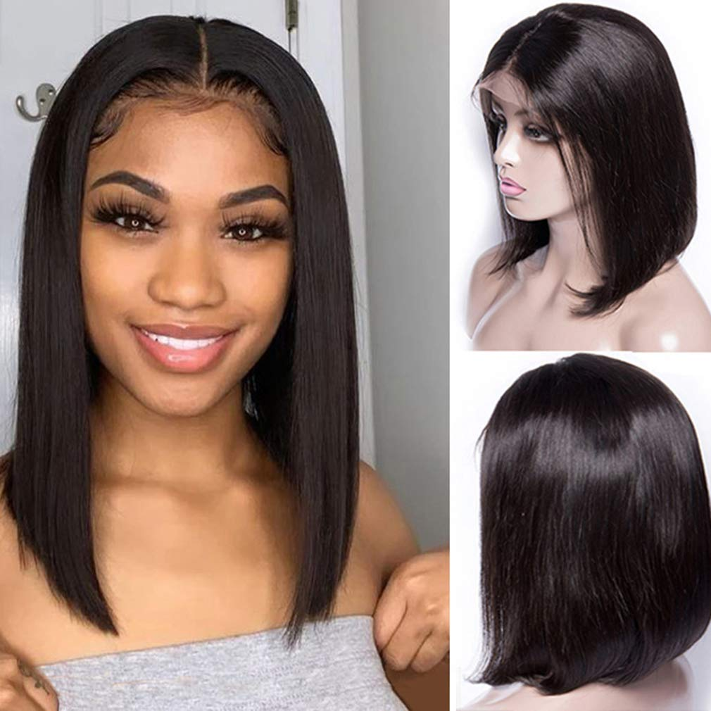 Bob Washington Mall Wigs Natural Black Human Hair Plucked Lace OFFicial site Front 13 Pre