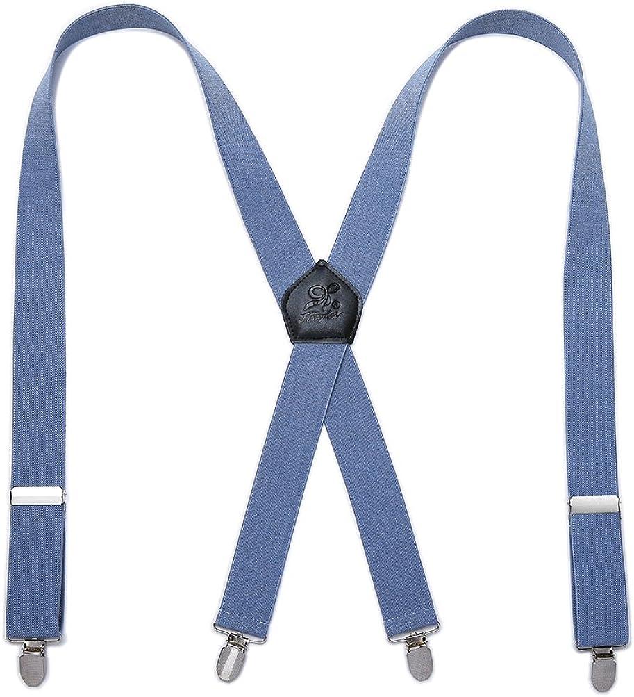 KANGDAI Tirantes Hombres Suspenders 4 Clips Brazaletes de Cuero Genuino X Back Durable Wide Elastic Straps Brazaletes para Pantalones (Azul): Amazon.es: Ropa y accesorios