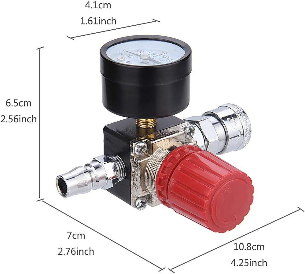 Preciva Air Compressor Pressure Regulator with Dial Gauge, 0-175 PSI Air Gauge for Air Compressor and Air Tools (Four Way Valve) - -