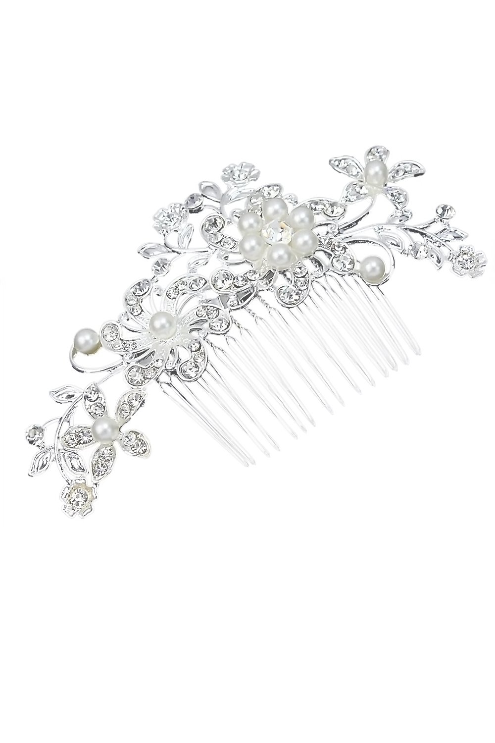Elegant Women Hairpin Rhinestone Flower Hair Comb Clip Shiny Wedding Bridal Hair Accessories Elisona