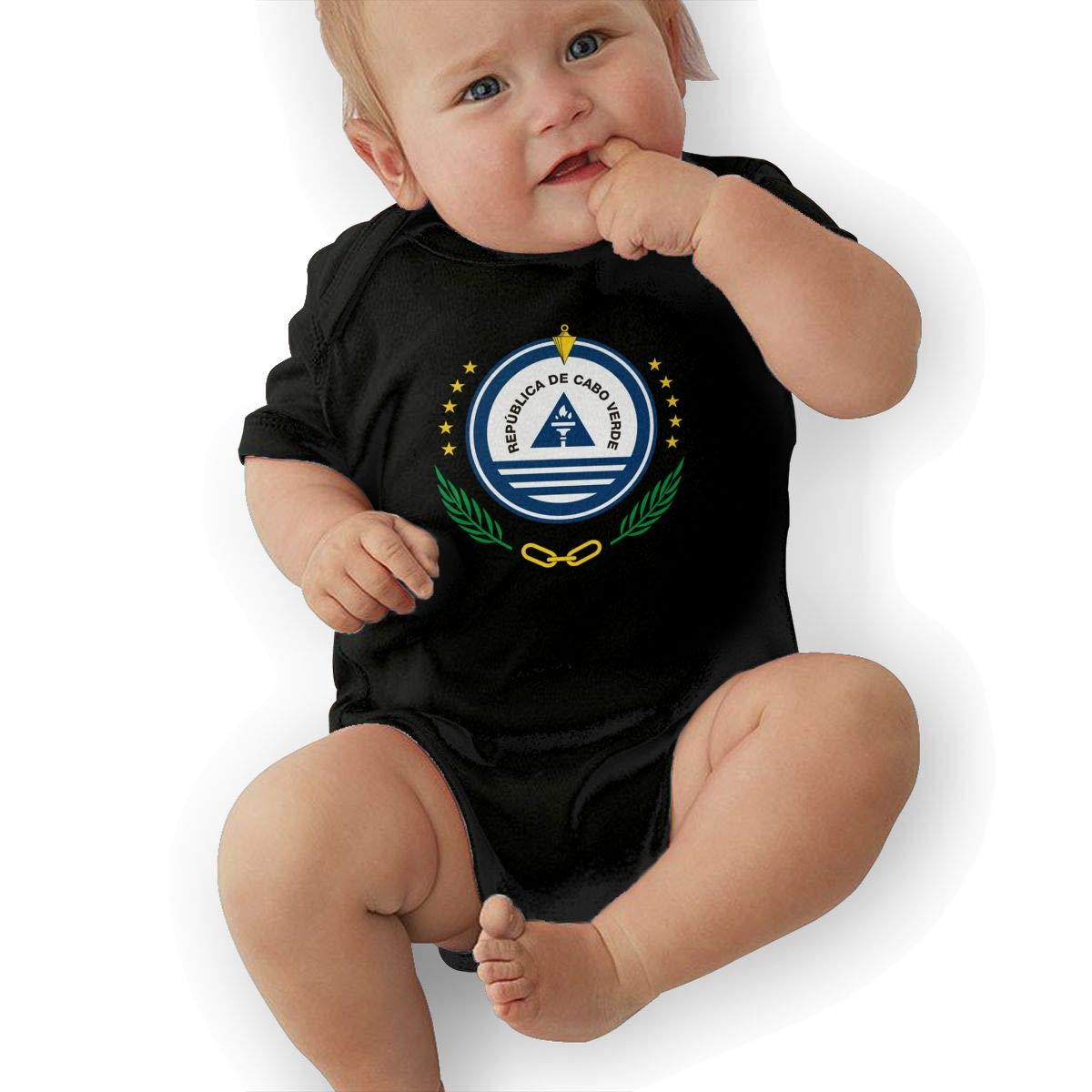 HappyLifea Coat of Arms of Cape Verde Newborn Baby Short Sleeve Romper Infant Summer Clothing
