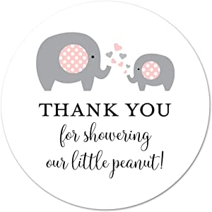 40 cnt Pink Elephant Thank You Stickers, Little Peanut Baby Shower Favor Stickers…