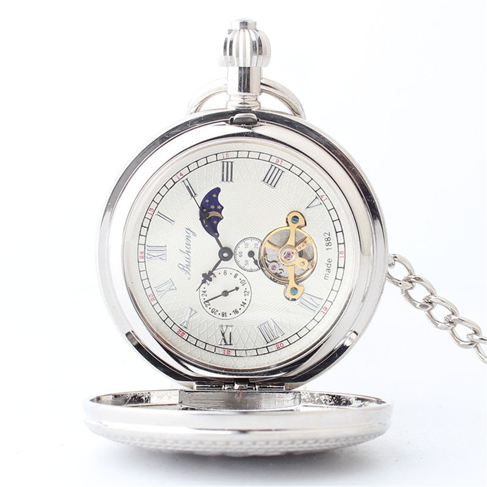 Zxcvlina Classic Smooth Exquisite Silvery Retro Mechanical Pocket Watch Copper Carved Unisex Pocket Watch with Chain for Gift Suitable for Gift Giving by Zxcvlina (Image #2)