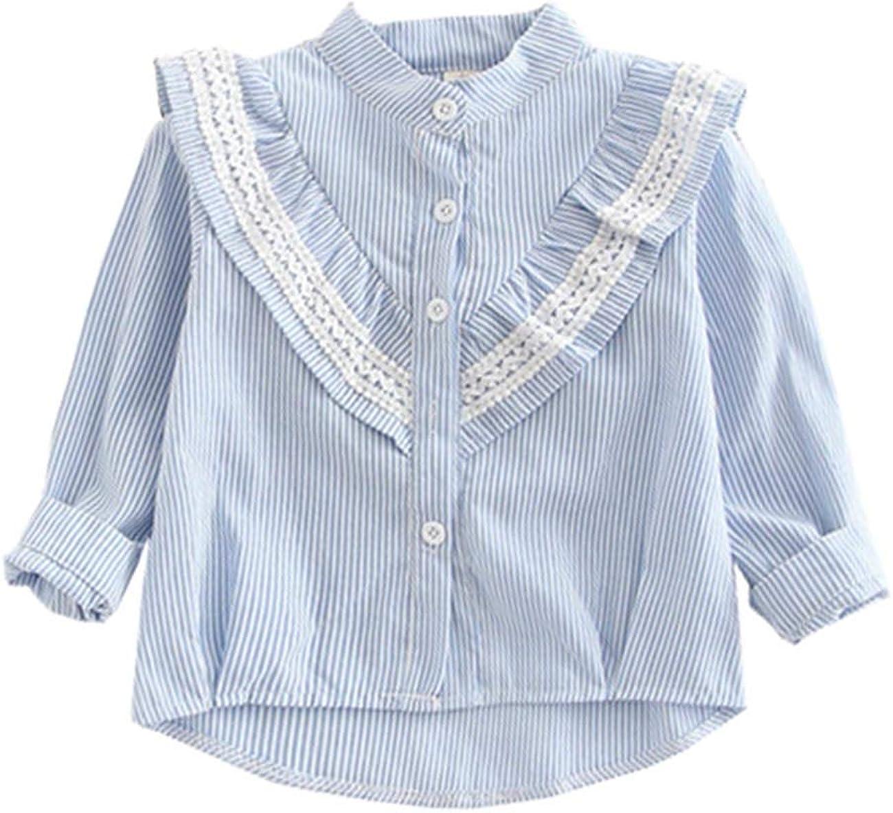 FCQNY Kids Baby Little Girls Long Sleeve Ruffled Cotton Button-Down Shirts Tops