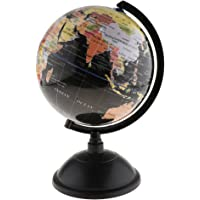 Dolity 25cm/20cm Swivel Stand World Map Globe for Desktop Decoration Geography Education - Black, 20cm