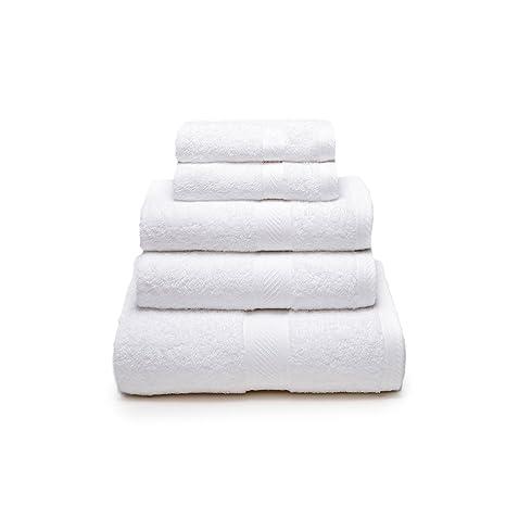 Sancarlos - Juego de 5 toallas YANAI, 100% Algodón, Color Blanco