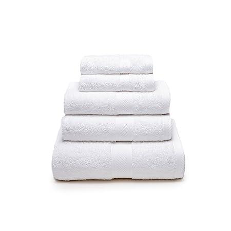 Sancarlos - Juego de 5 toallas YANAI, 100% Algodón, Color Blanco ...