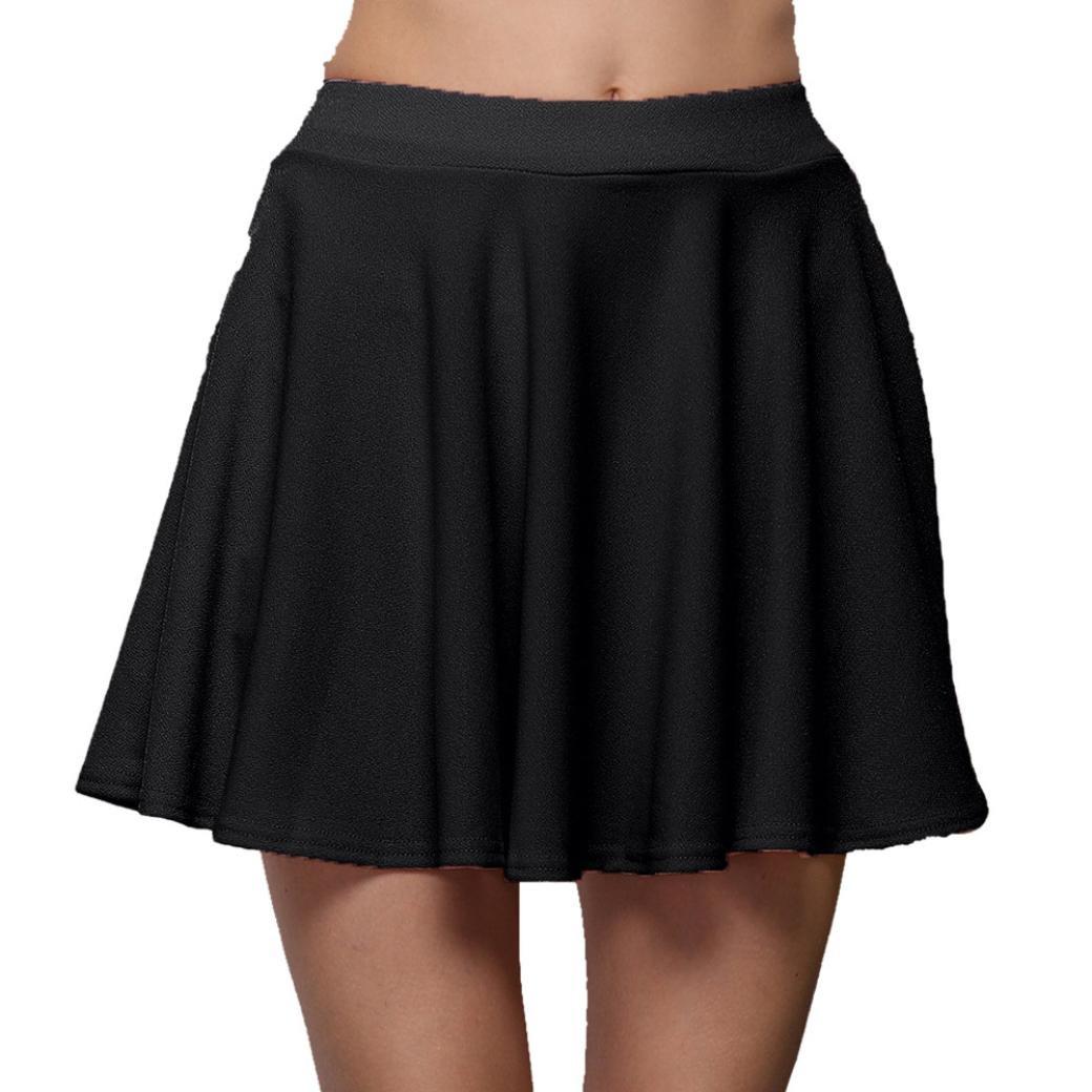 2f43ae2283ea ♛Ouneed 2018 Summer Cute High Waist Skirts Womens Solid Pleats Bottoming  Half Body Skirt: Amazon.co.uk: Clothing
