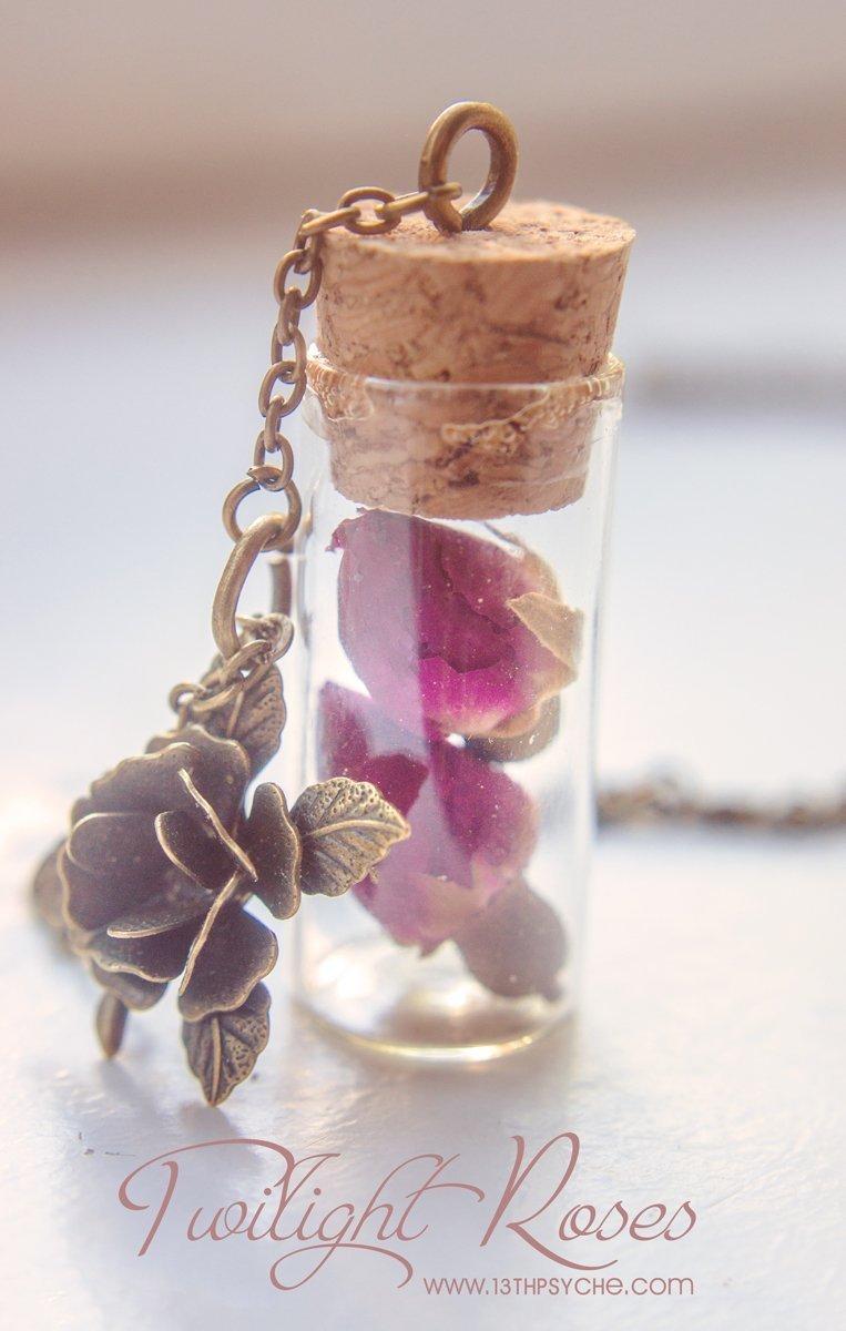 adjustable cord ROSE PETAL bottle NECKLACE dried flower petals bottle necklace adjustable