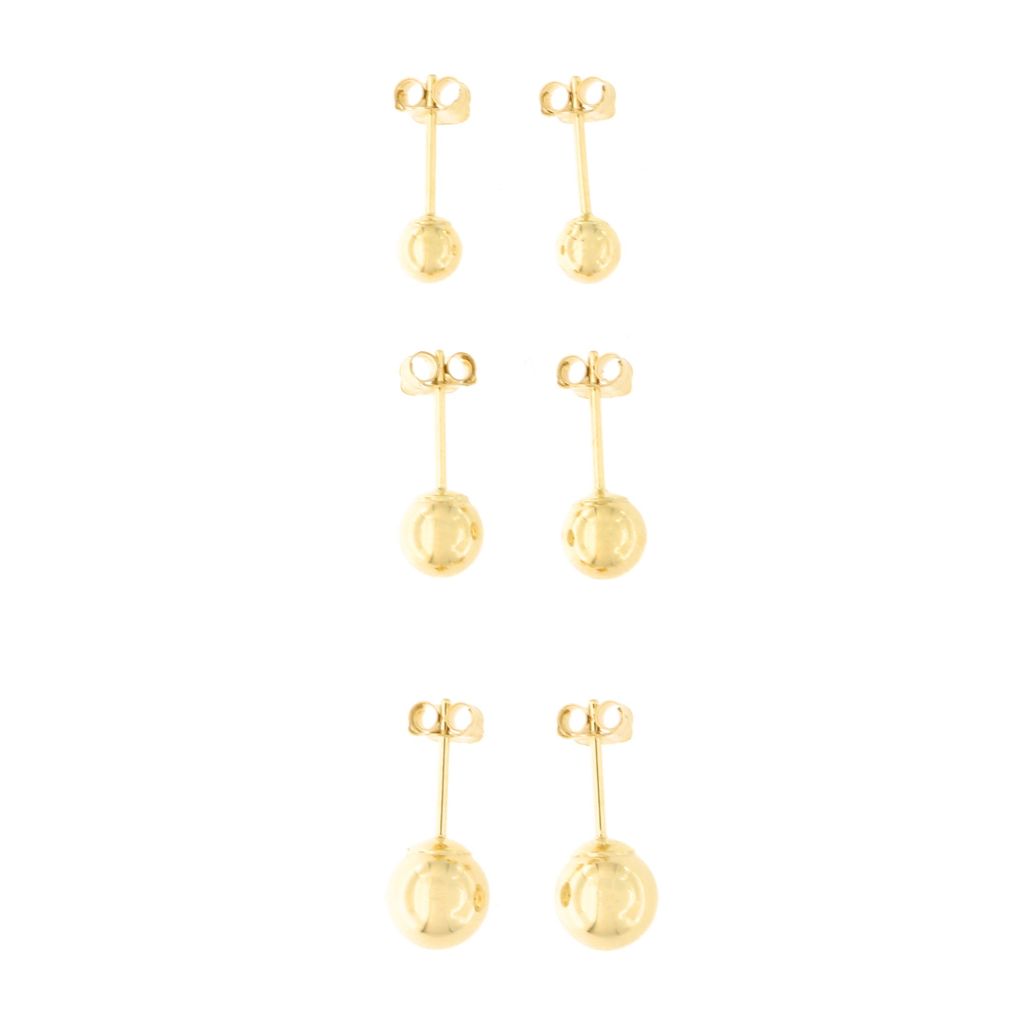 14k Yellow Gold 4mm, 5mm and 6mm Ball Stud Earrings Set