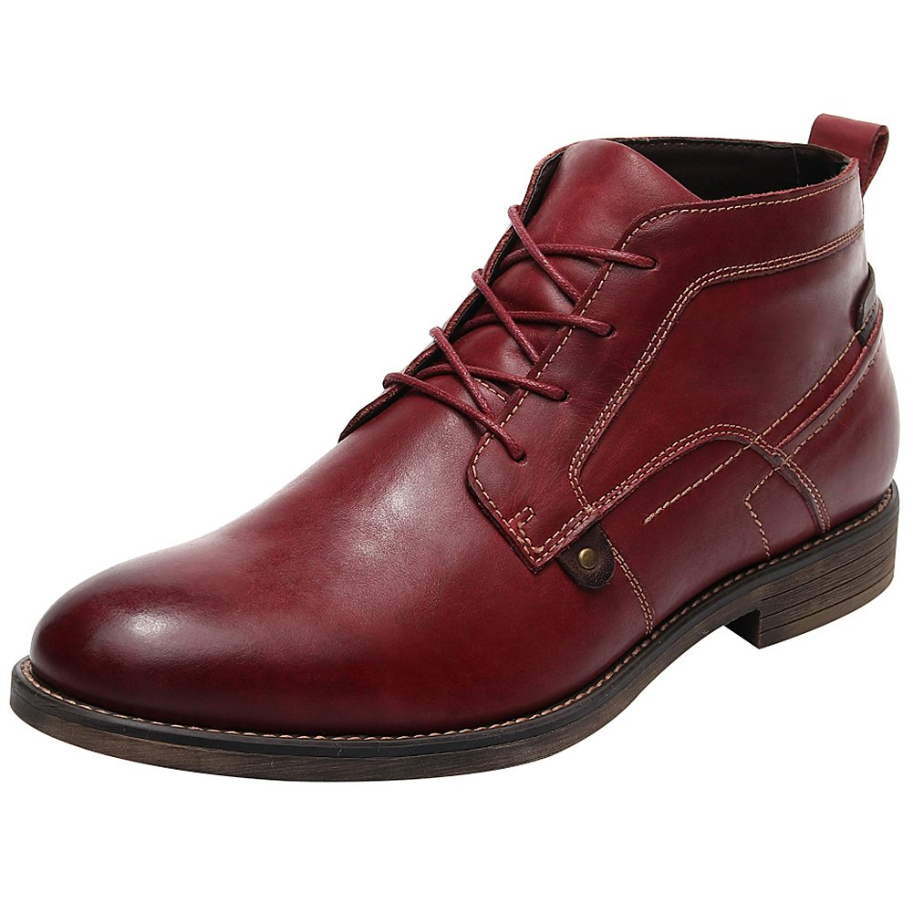 rismart Men's Ankle High Round Toe Popular Leather Chukka Boots SN01801(Mahogany,us8.5) by rismart (Image #1)