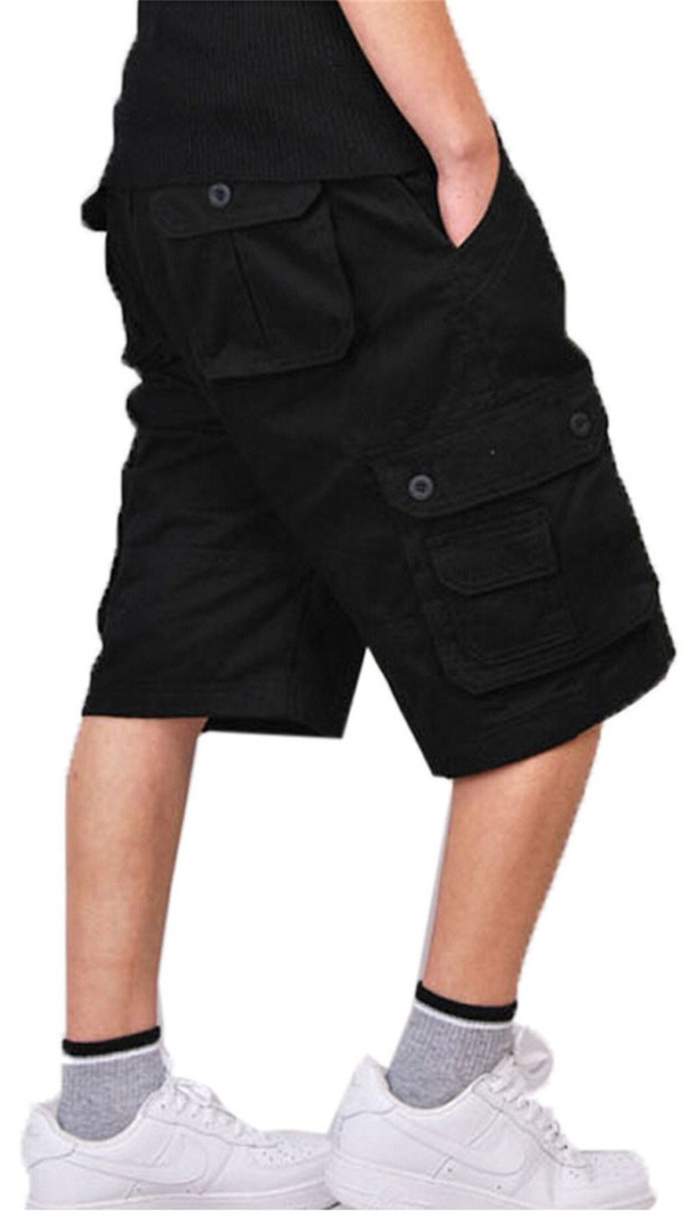 YOLL Men's Casual Cotton Multi Pocket Cargo Shorts