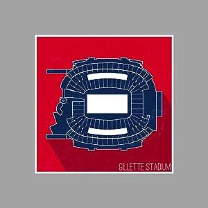 ArtsyCanvas Gillette Stadium - Football Seating Map - 24x24 Matte Poster Print Wall Art