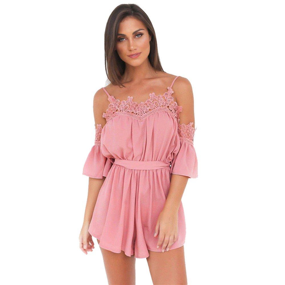 6c402358068 Amazon.com  Ghazzi Women Jumpsuits Off Shoulder Lace Patchwork Romper  Playsuit Short Pants Overalls Beachwear Bodysuit  Clothing