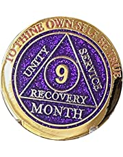 9 Month AA Medallion Elegant Purple Glitter Gold and Silver Plated Chip