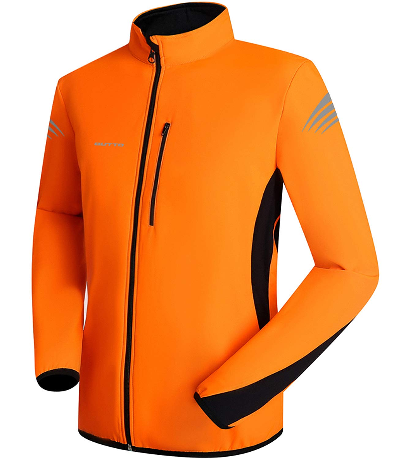 OUTTO Men's Winter Thermal Cycling Jacket Reflective Water Resistant Windbreaker(Large, Orange) by OUTTO