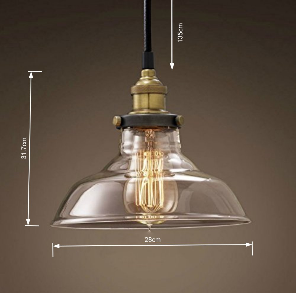 vintage lighting pendants. Retro Dig® Industrial Vintage Style Light Fitting Glass Ceiling Pendant Lamp Shade Lighting For Kitchen Loft Bedroom Office 28cm With E27 Bulb: Pendants L