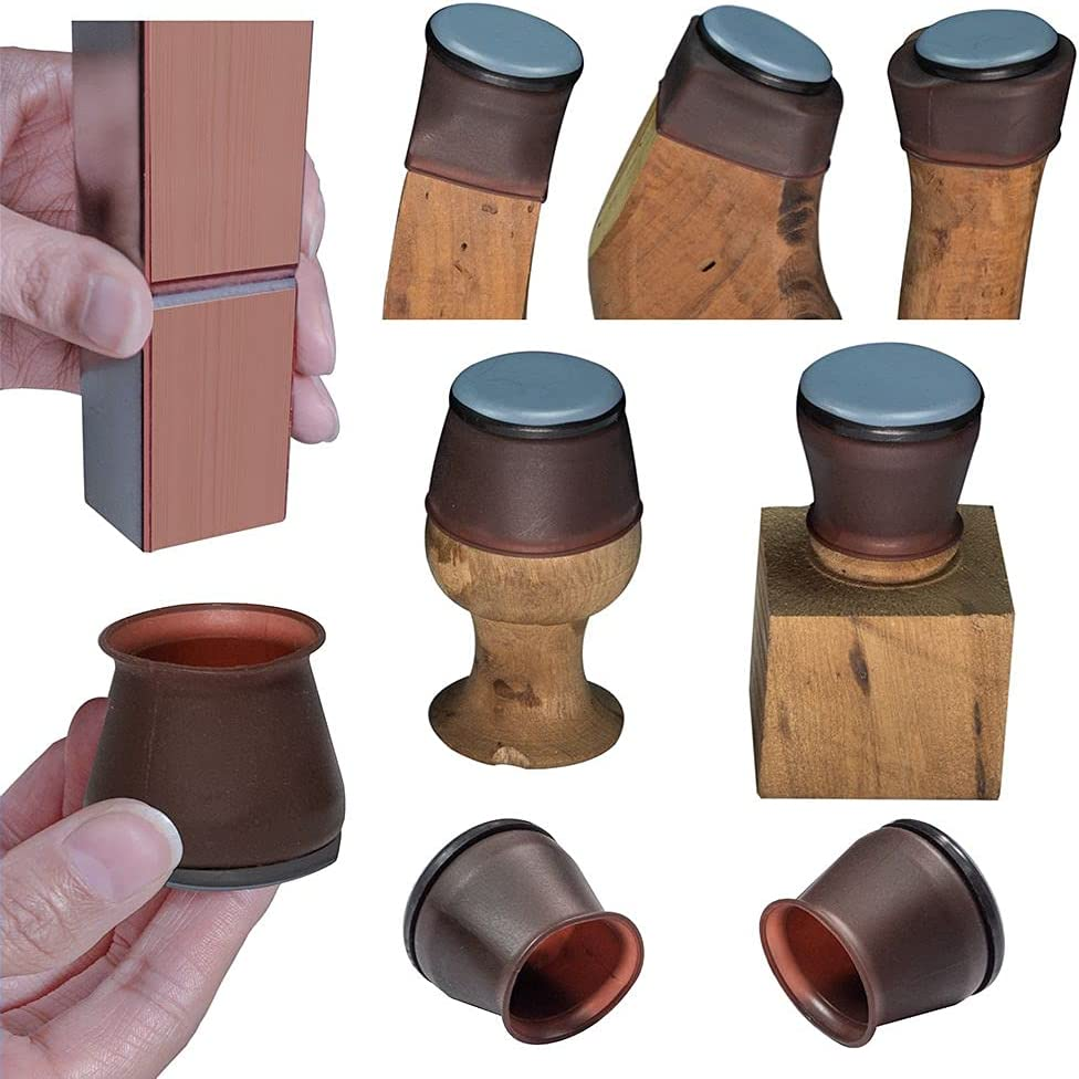 Chair Leg Sliders for Carpet, Sliders and Elastic Silicone Combination of Table Foot Protector, Square and Round Universal, let The Metal Tube Foot Move smoothly on The Carpet (Medium Walnut, 8PCS)