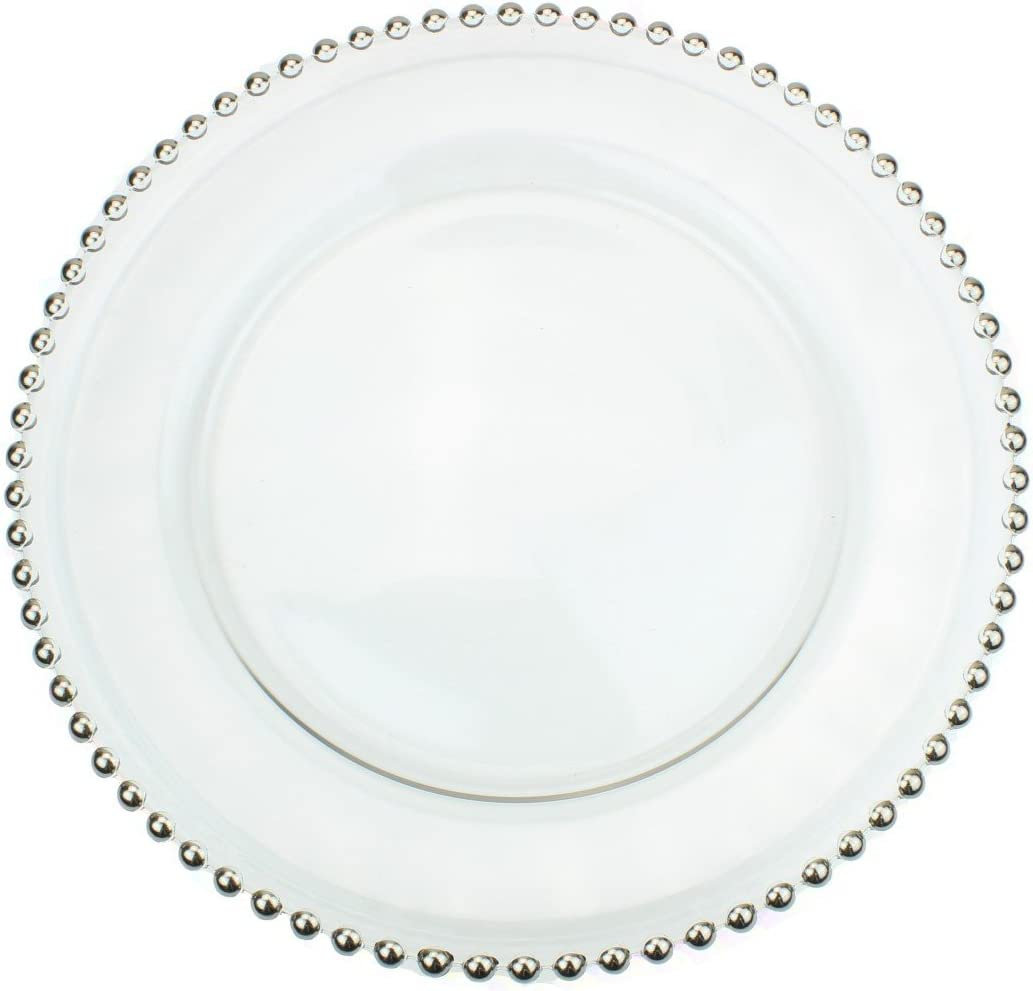 Pink Clear Glass Charger 12.6 Inch Dinner Plate with Beaded Rim Set of 4