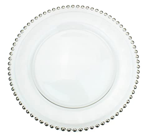 Amazon.com | Clear Glass Charger 12.6 Inch Dinner Plate With Beaded ...