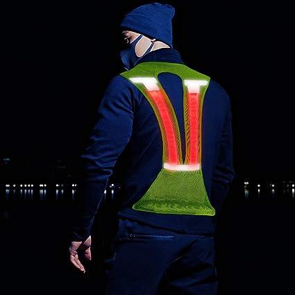 Elanox Led Warnweste Reflektierende Weste Sicherheitsweste Mit Reflektierenden Streifen Für Outdoor Aktivitäten Bei Dunkelheit Grün Auto