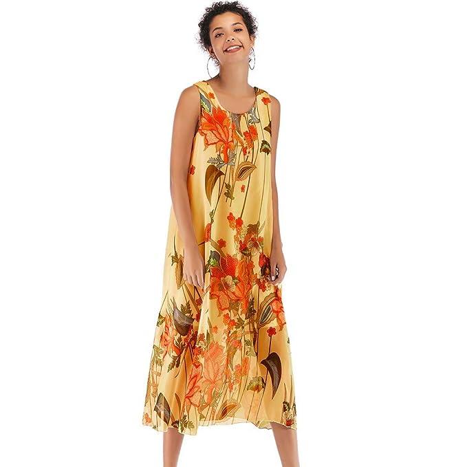 NPRADLA Large Falda Vestido de Estilo Playero con Estampado Floral de Boho, Estampado Floral de