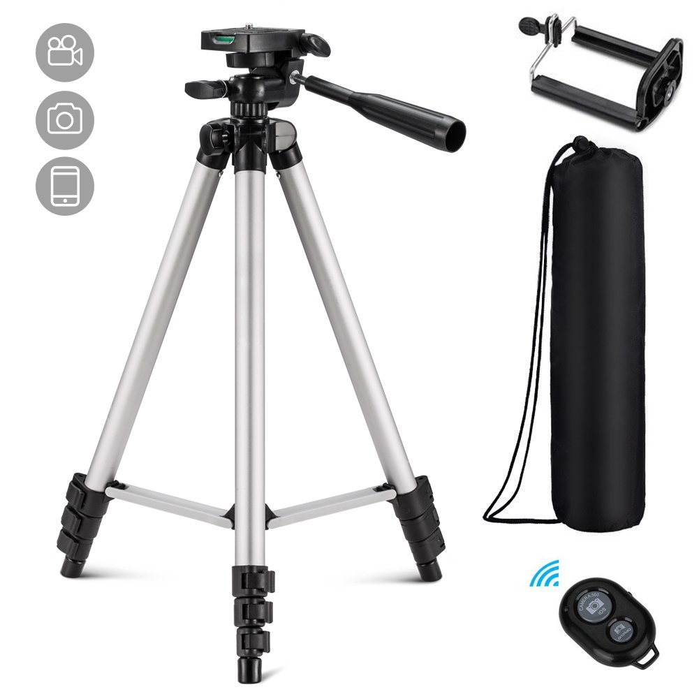 Eocean Tripod, 50-inch Video Tripod for Cellphone with iOS and Andriod System, Universal Tripod for Gopro and Camera with Wireless Remote, Compatible with iPhone X/8/8 PlusGalaxy Note 9/S9/Huawei/Google Eocean-50Tripod