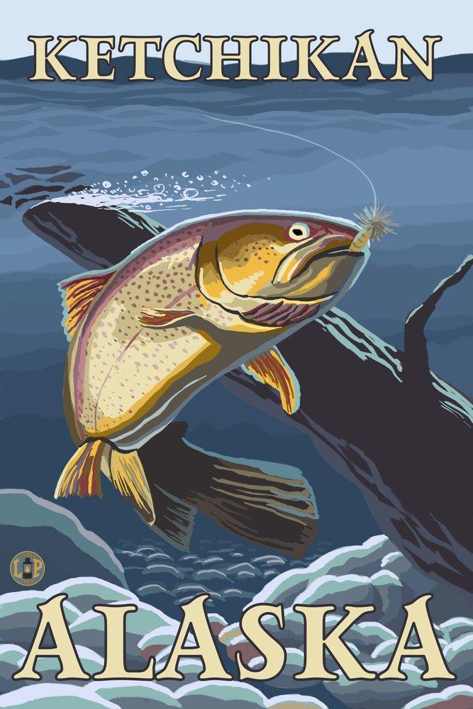 Trout Fishing cross-section – ケチカン、アラスカ 36 x 54 Giclee Print LANT-14024-36x54 36 x 54 Giclee Print  B017EA0B8O
