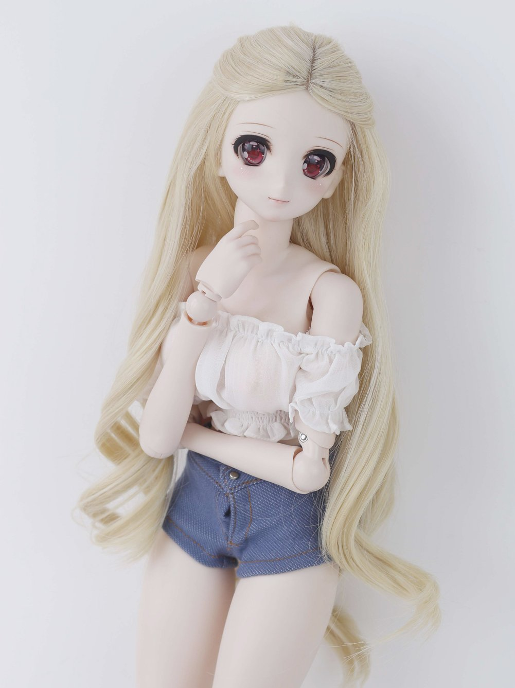 Linfairy 8-9 inch 1/3 BJD Wig Doll Hair SD DZ DD DOD Wig (Blonde Wave)