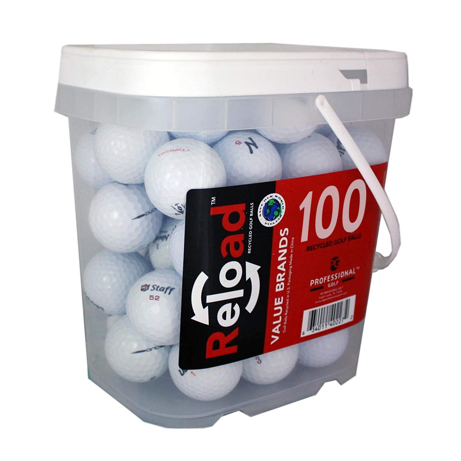 100 Golf Ball Mix - Value Styles - Pack color may vary by Reload Recycled Golf Balls