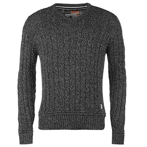 Soulcal câble en tricot Pull à col en V pour homme Noir/gris Pull Top