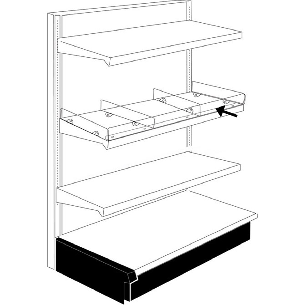 Acrylic Front Fencing Gondola Shelving 48 x 3 Retail Store Display Fixture Clear Lot of 25 NEW