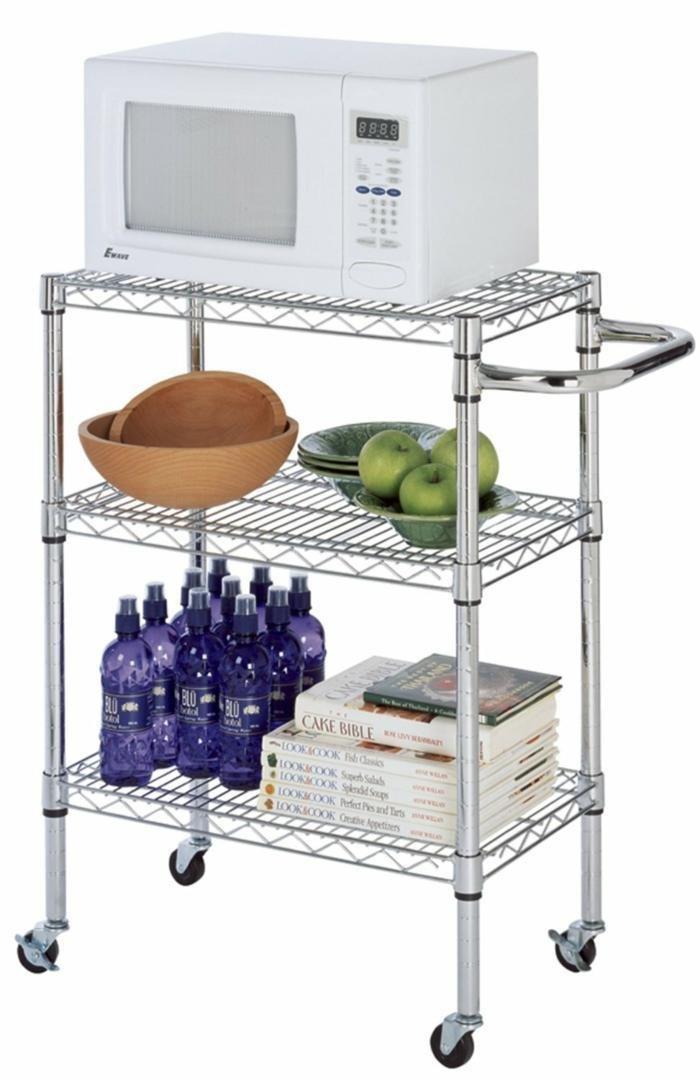 14 Deep x 24 Wide x 39 High Chrome Kitchen Cart